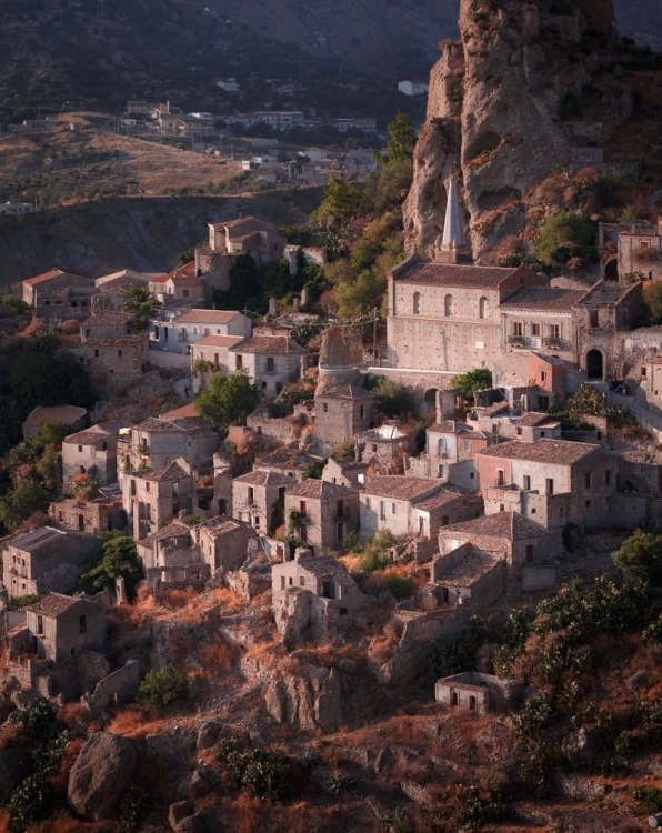 The abandoned village of Pentedattilo, Calabria, Italy.