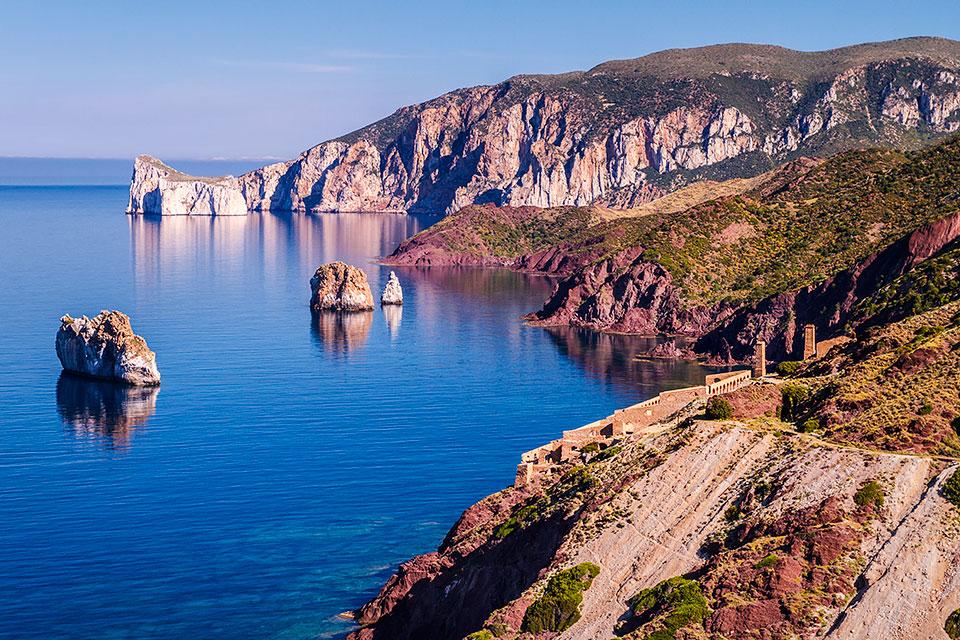 """The ruins of the ore washery """"Laveria Lamarmora"""",Nebida, Sardinia."""
