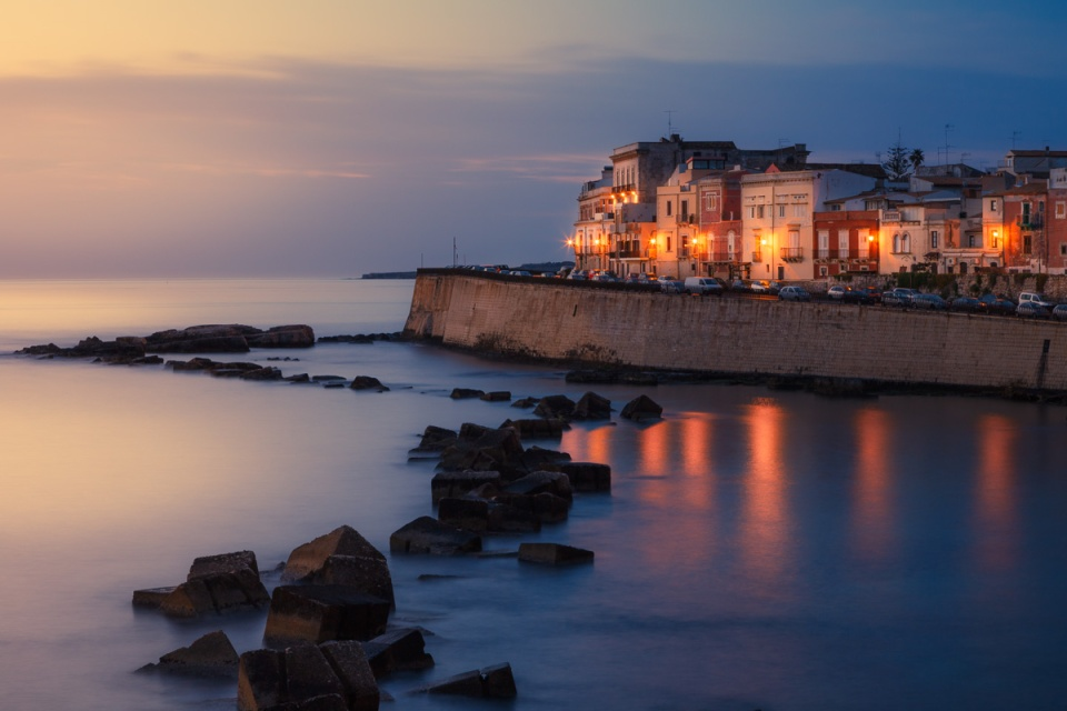 Seafront of Ortigia at dawn, Syracuse, Italy.