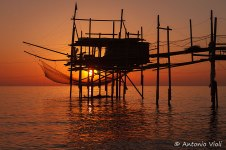 Trabocco (old fishing platform) at sunrise, Abruzzo.