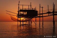 Trabocco (old fishing platform) at sunrise, Abruzzo.
