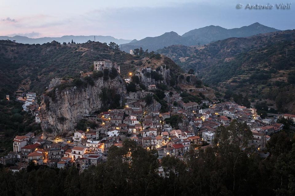 The village of Palizzi Superiore at dusk,Calabria