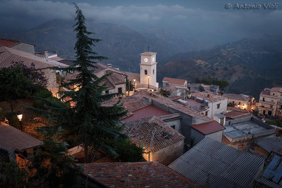 The hilltop village of Bova at dusk, Calabria