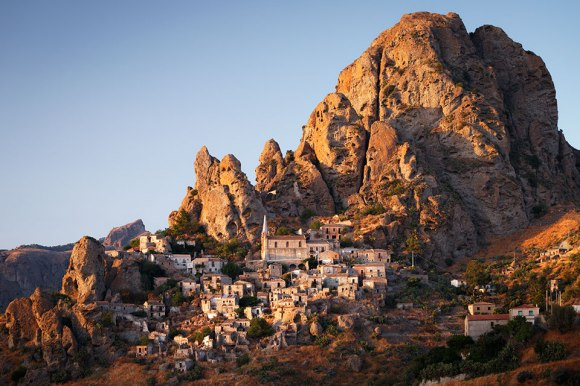 Abandoned village of Pentedattilo at sunset, Calabria, Italy.