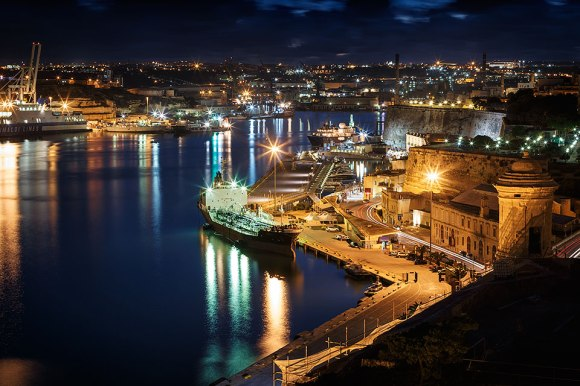 Grand Harbour and Waterfront of Valletta at night, Malta.