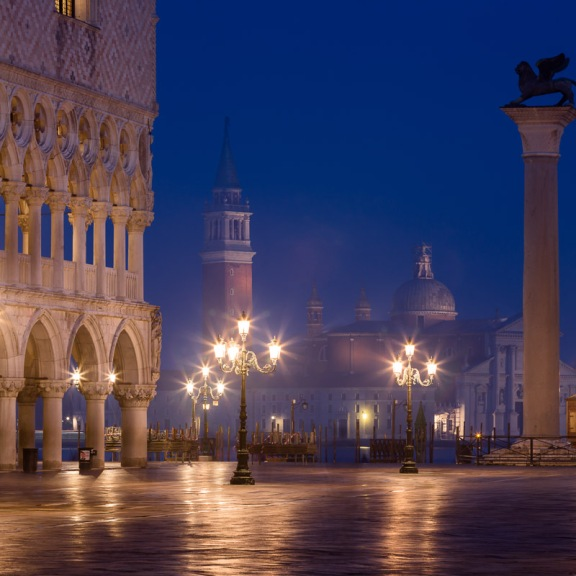 St. Mark's Square (Piazza San Marco) with the Doge's Palace and St. Mark's column, Venice, Italy.