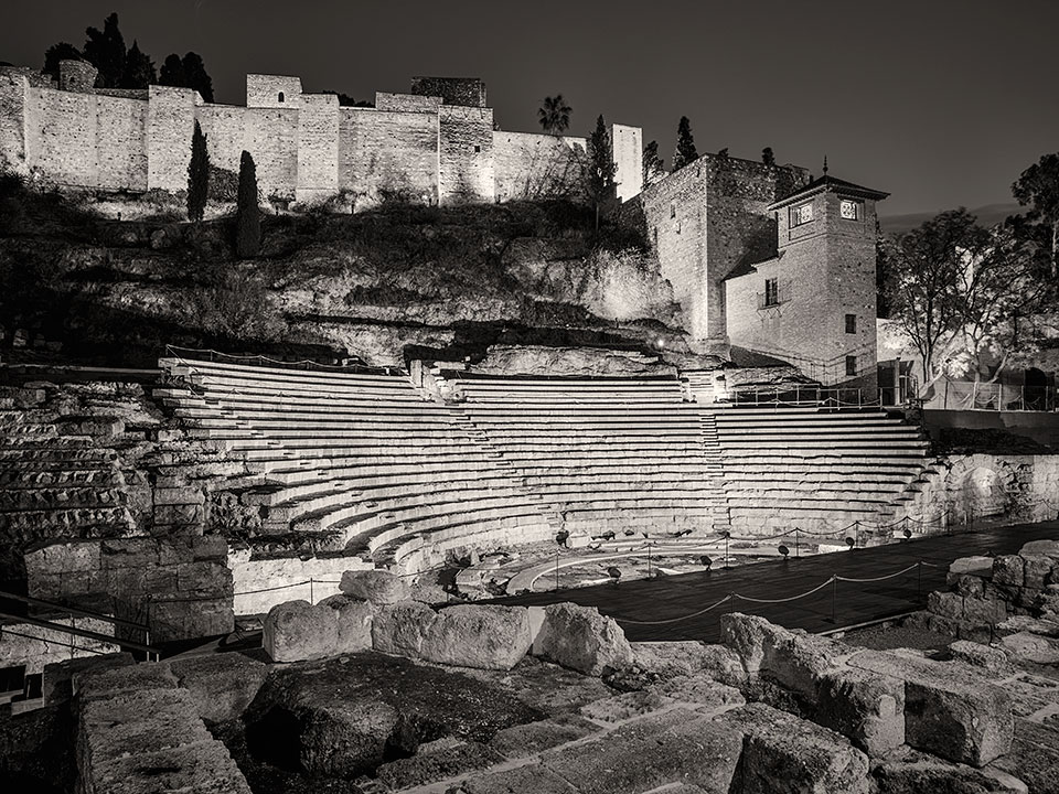 Roman Theater and Alcazaba at night, Malaga, Spain.