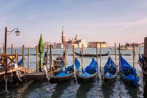Gondolas on Canale di San Marco with San Giorgio Maggiore church, Venice, Italy