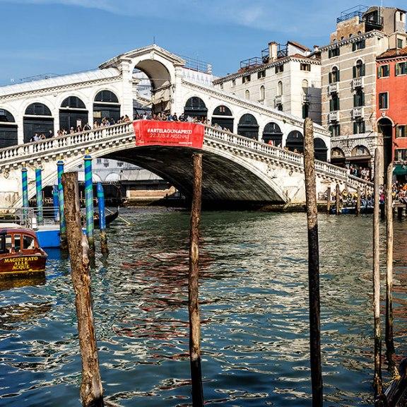The Rialto Bridge on the Grand Canal in Venice.