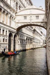 Gondola at the Bridge of Sighs (Ponte dei Sospiri), Venice, Italy.