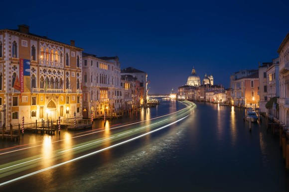 View of the Grand Canal from the Accademia Bridge at night, Venice, Veneto, Italy