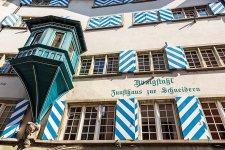 Facade of a typical house, Zurich, Switzerland.