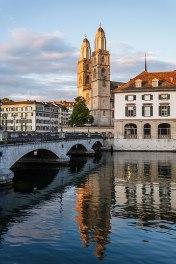 Grossmünster church and Limmat river, Zurich, Switzerland.