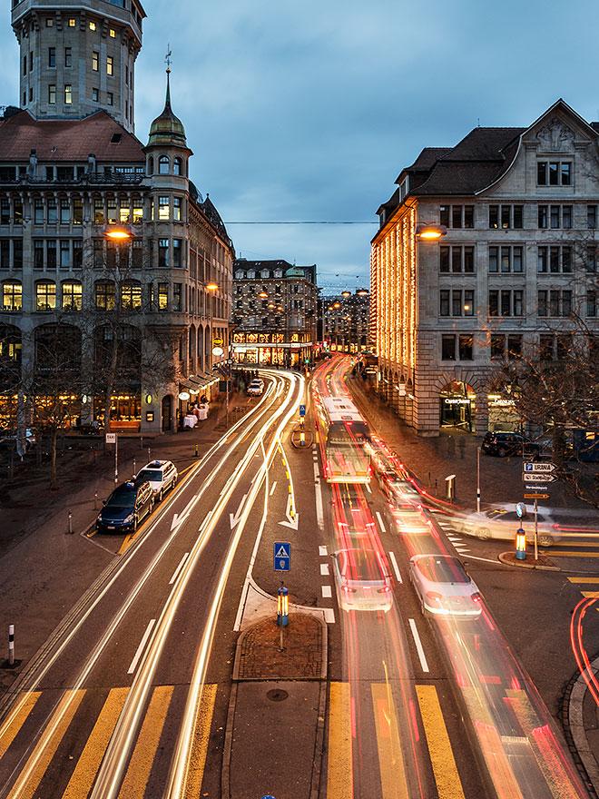 Rush hour in Zurich, Switzerland.