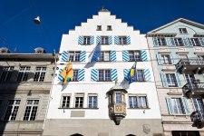 """Facade of the guild house """"Haus zum Kämbel"""", Zurich, Switzerland."""