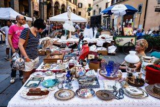 Flea market in Cortona, Tuscany, Italy.