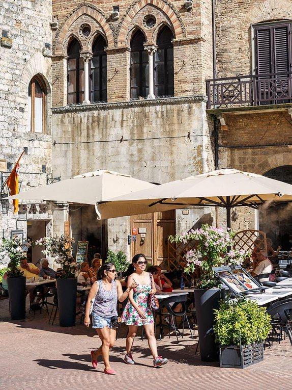 Tourists in San Gimignano, Tuscany, Italy.