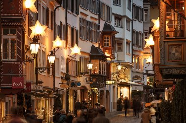 Christmas decoration of Augustinergasse in old town of Zurich, Switzerland.