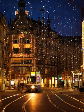 "The ""Bahnhofstrasse"" decorated with Christmas lights, Zurich, Switzerland."