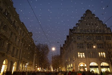 Christmas illumination Lucy over the Bahnhofstrasse, Zurich, Switzerland.