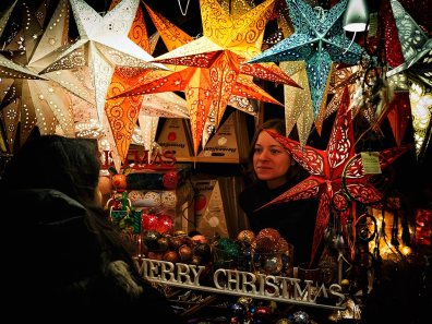 Stall at the Christmas market in Zurich, Switzerland.