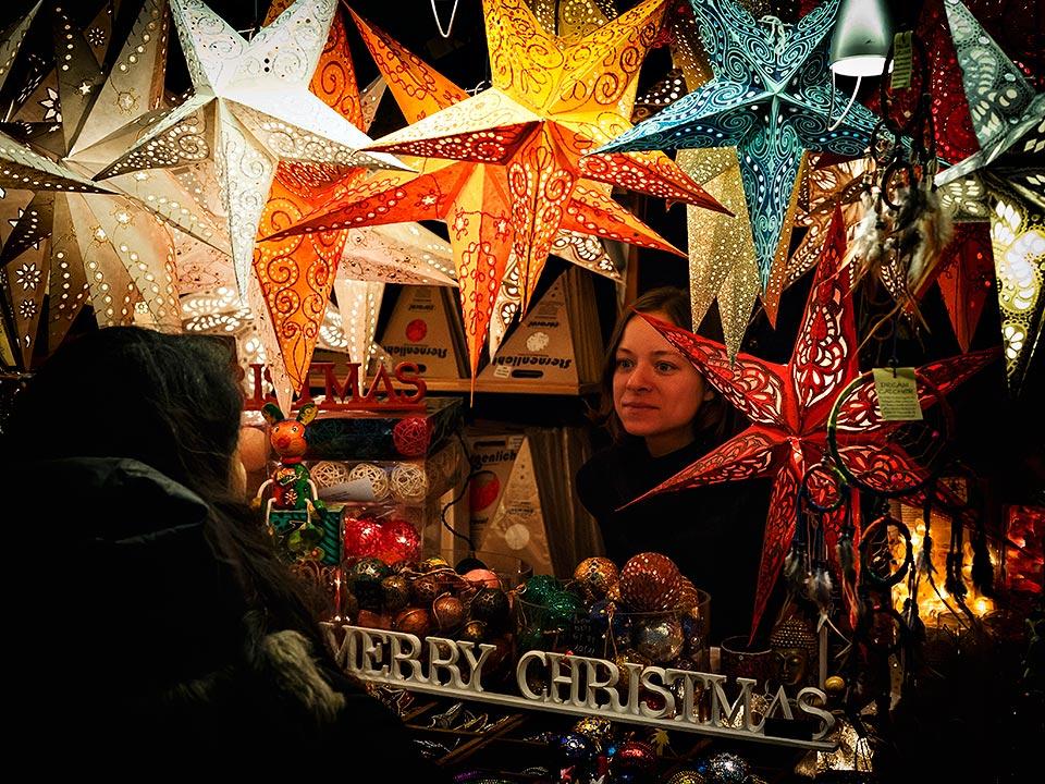 Stall at the Christmas market in Zurich, Switzerland.