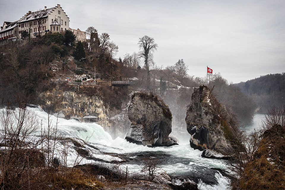 Rhine Falls in winter, Neuhausen, Switzerland.
