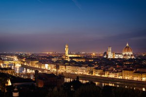 Florence at night with Ponte Vecchio, Duomo and Palazzo Vecchio, Tuscany, Italy.