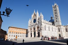 Cathedral and Piazza del Duomo in Siena, Tuscany, Italy.