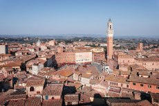 """High angle view of """"Piazza del Campo"""" square and """"Torre del Mangia"""" tower, Siena, Tuscany, Italy."""