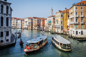 Vaporetto crossing on the Grand Canal in Venice, Italy.