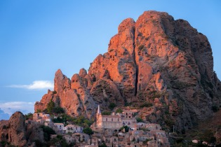 The rock and the ghost town of Pentedattilo, Calabria, Italy.