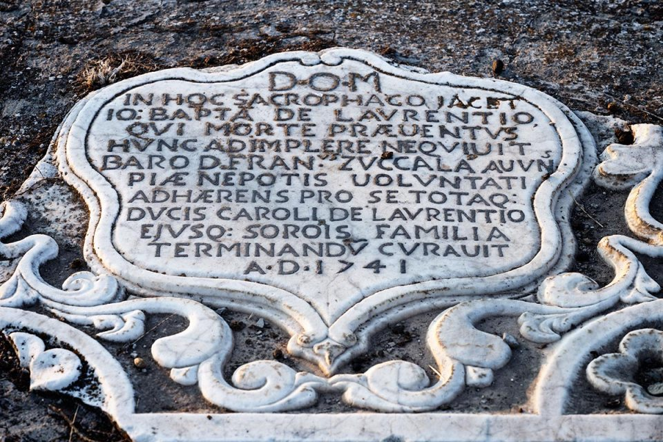 Tombstone in Brancaleone ghost town, Calabria, Italy.