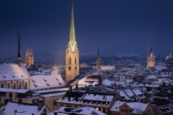 Old Town at night with snow-covered roofs, Zurich, Switzerland