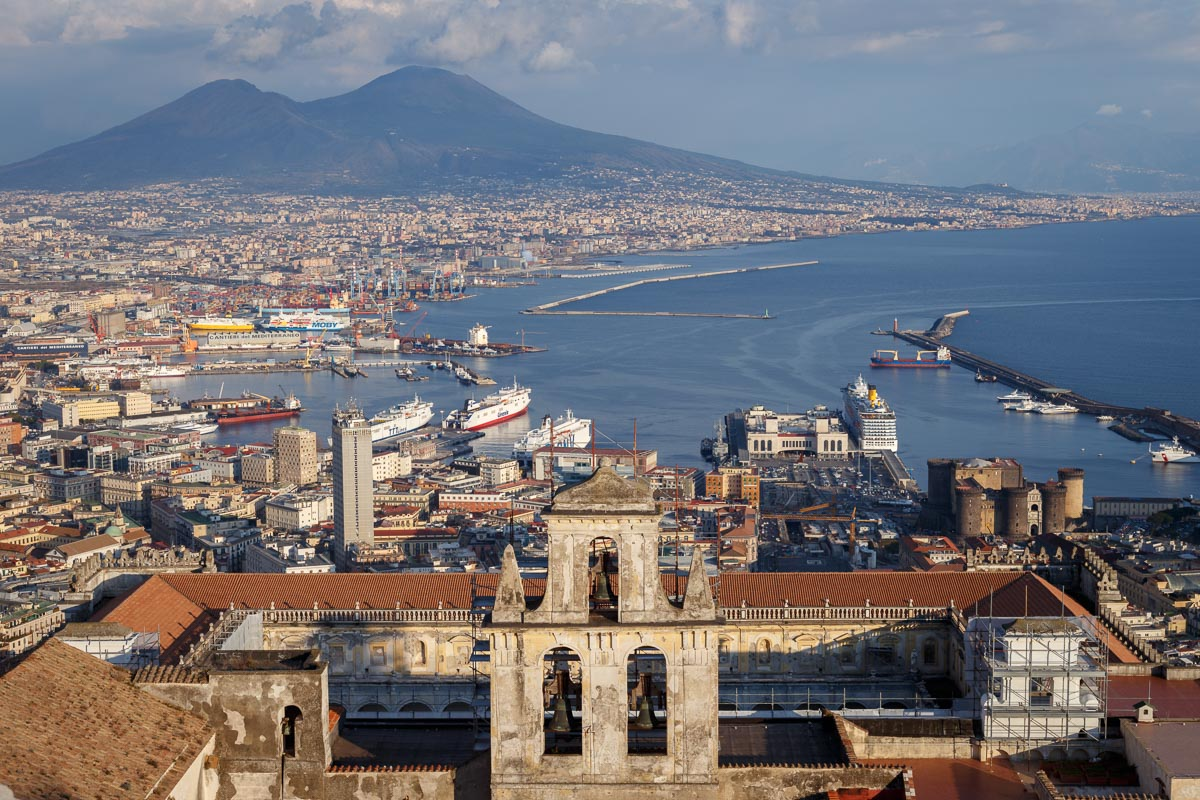 Naples and Mount Vesuvius with the Charterhouse of San Martino in the foreground, Italy.