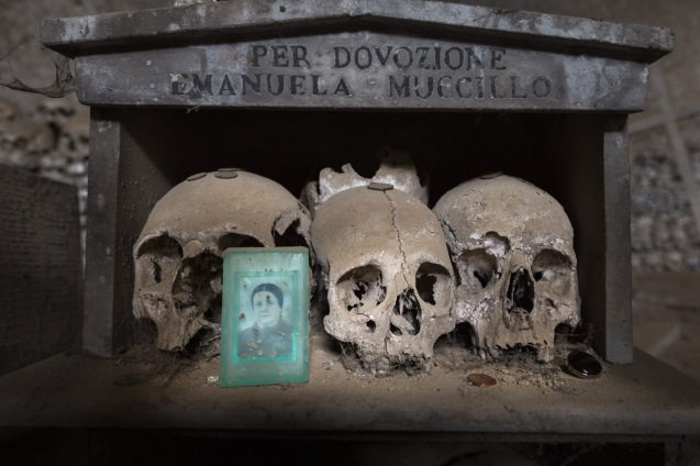 Skulls in the Fontanelle Cemetery in Naples, Italy.