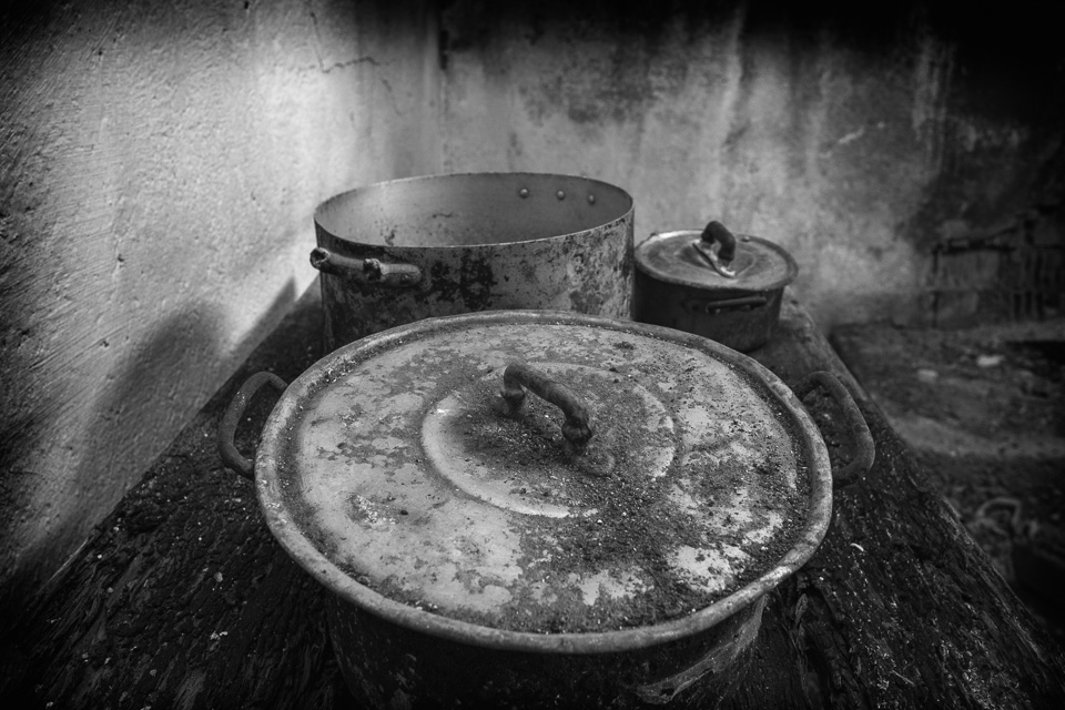 Old pans in a Roghudi Vecchio kitchen