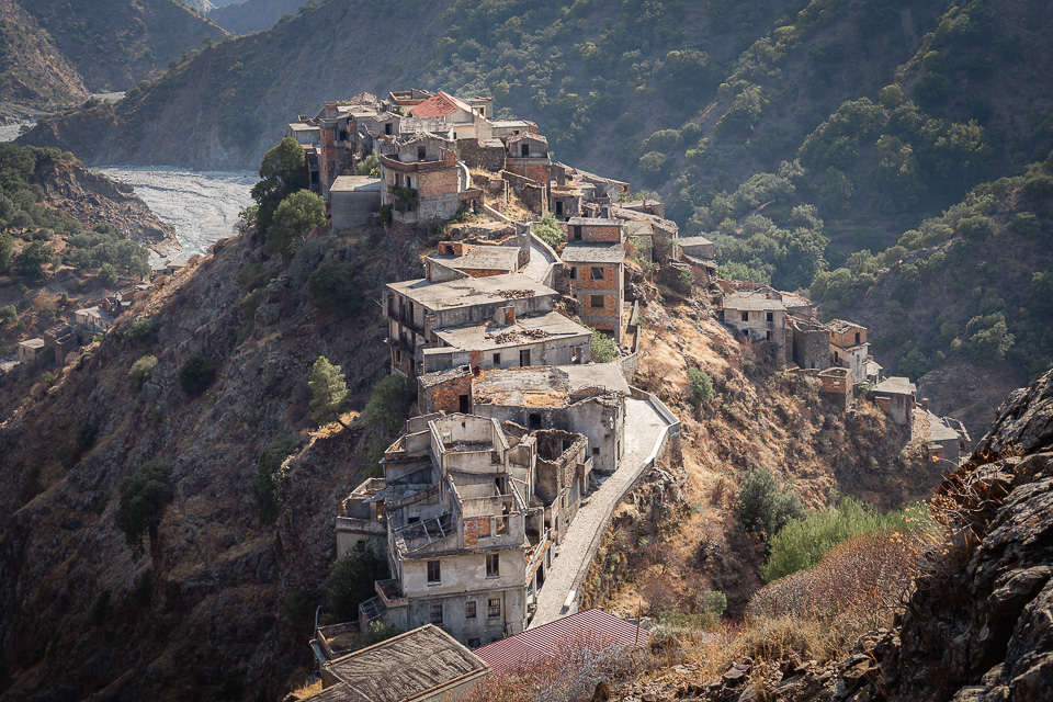 The ghost town of Roghudi Vecchio (Old Roghudi), Calabria, Italy.