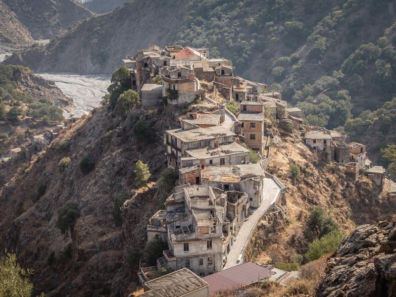 Ghost town Roghudi Vecchio, Aspromonte, Calabria, Italy