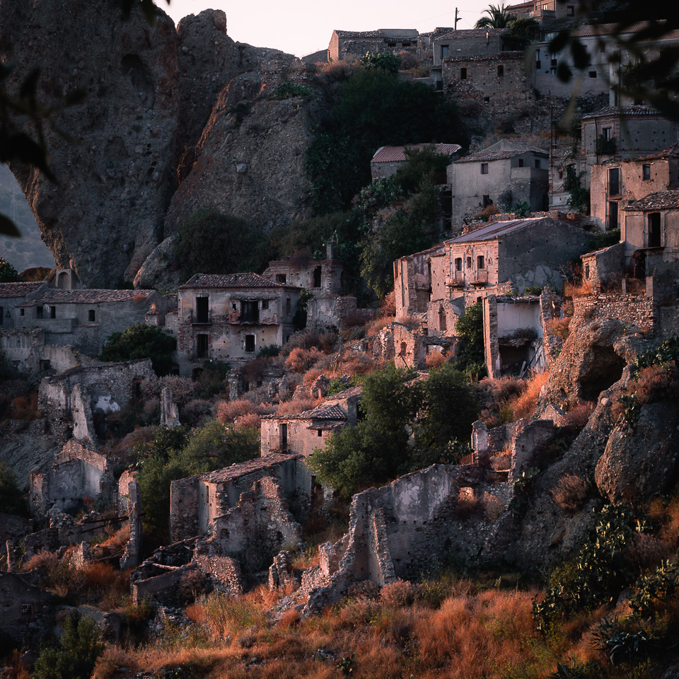 Pentedattilo Ghost Town at Sunset