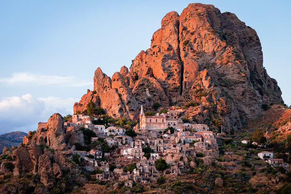 Rock and ghost town of Pentedattilo at sunset, Calabria, Italy