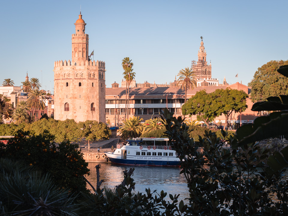 Torre del Oro and Guadalquivir river in Seville.