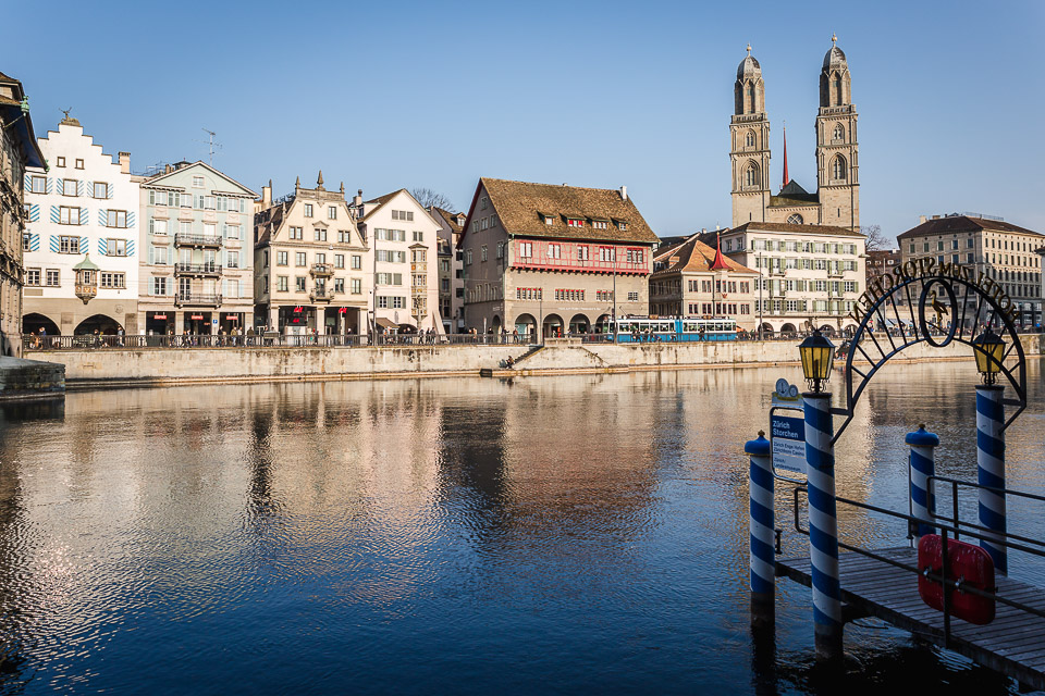 Limmat river and Grossmünster church, Zürich, Switzerland