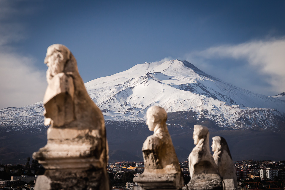 Mount Etna seen from the terrace of the Abbey of Sant'Agata in Catania, Sicily
