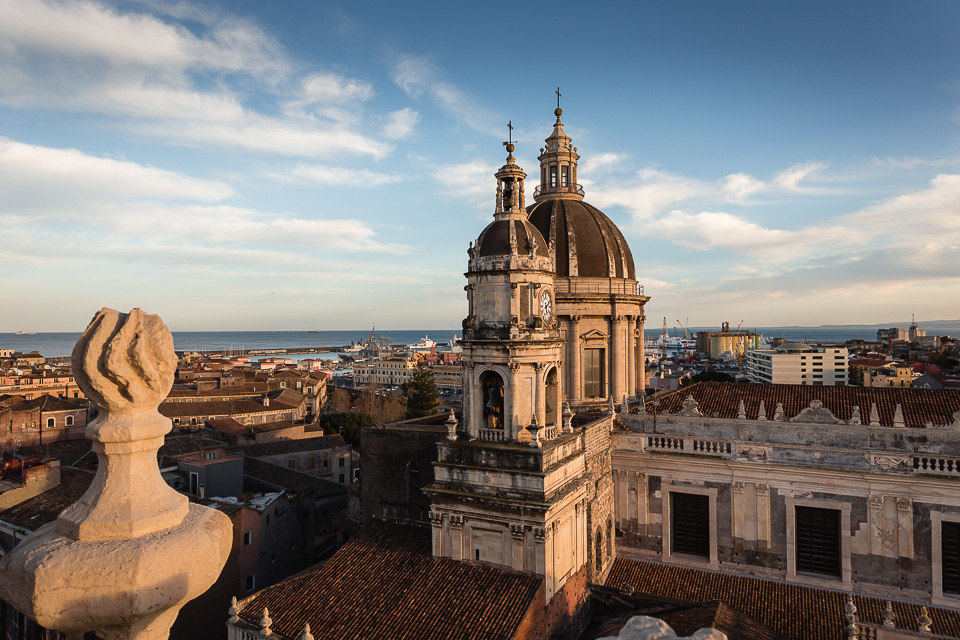 Cathedral of Catania seen from the terrace of the Abbey of Sant'Agata, Sicily