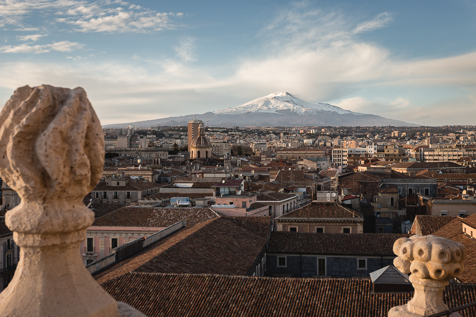 Mount Etna and the city of Catania seen from the terrace of the Abbey of Sant'Agata, Sicily