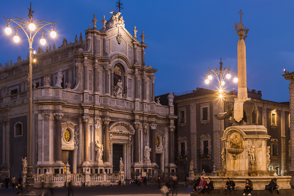 "Piazza del Duomo square with the façade of the cathedral and the Elephant Fountain ""u Liotru"", symbol of Catania, Sicily, Italy."