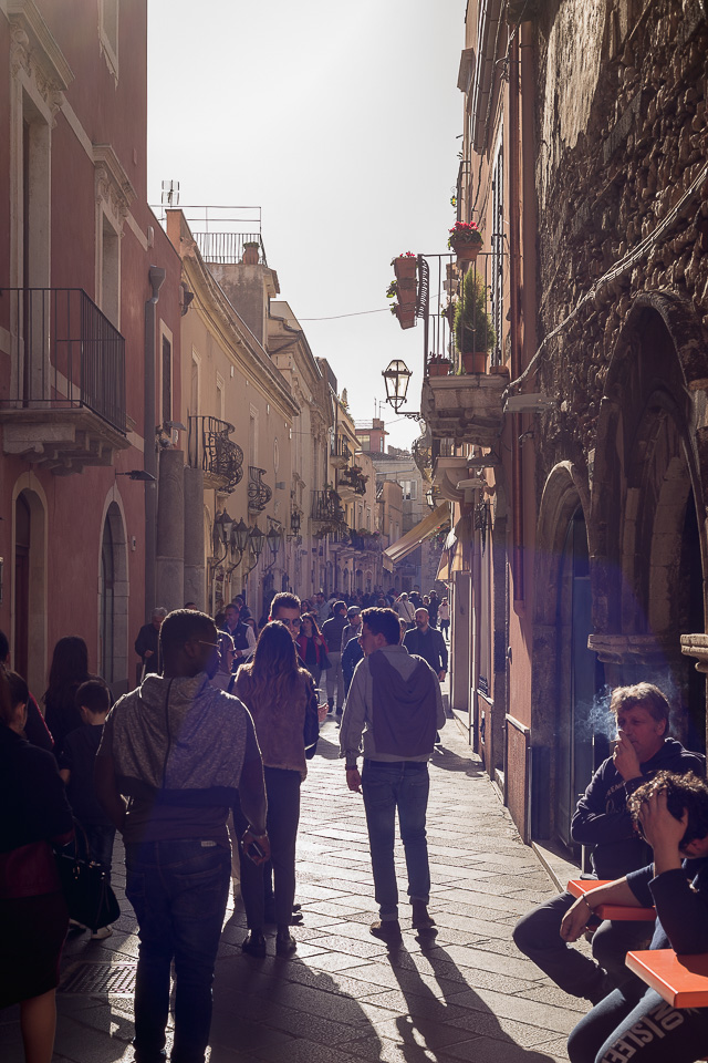 Corso Umberto I street in Taormina, Sicily
