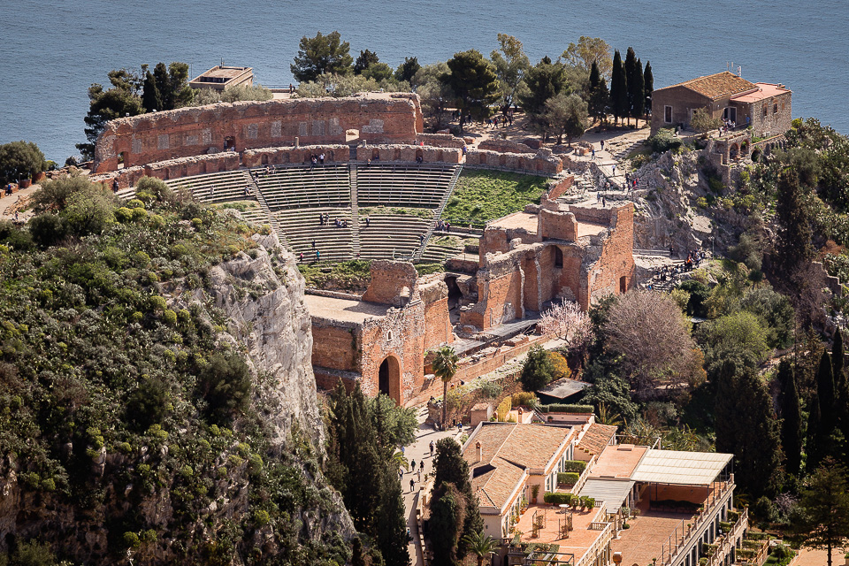 Ancient Greek-Roman theater of Taormina, Sicily.