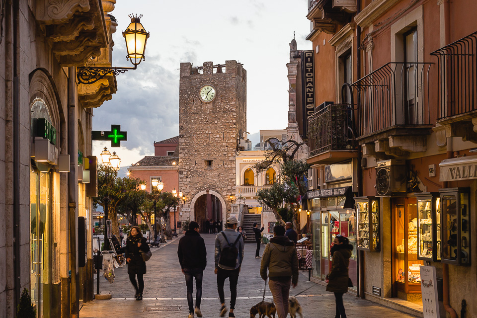 Corso Umberto I and Clock Tower in Taormina, Sicily